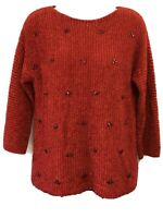 Ruby Rd. Red Sweater Women's Size PXL 3/4 Sleeve Metallic Embellished