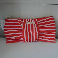 KATE SPADE Light Red SILKA BOW CLUTCH Bag GEORGIA ROAD Striped WHITE Holidays !