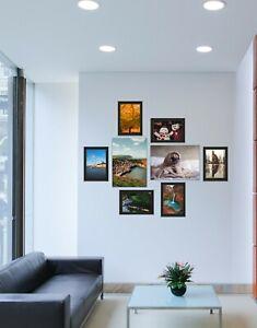 Set Of 8 Frames - 6 A4 Black Photo Frame and 2 A3 Clip Frame Wall Mountable Home