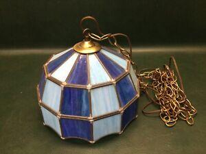 Vintage Leaded Slag Glass Hanging Corded Light Fixture Pendant Lamp Blue