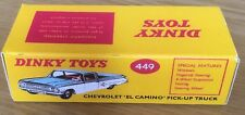 Dinky 449 Chevy El Camino Pick-Up Empty Repro Box Only
