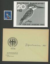 BRD FOTO-ESSAY 404 VÖGEL 1963 EISVOGEL KINGFISHER PHOTO-ESSAY PROOF RARE!! e686