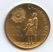 Exonumia Vfw Nat'l Home Medal (#8806) Christmas 1934. 25Mm.