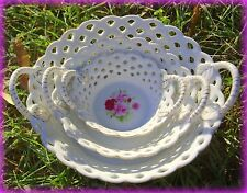 *New* Victoria'S Garden Set Of 3 Ceramic Pierced Nesting Handled Bowls W/ Roses
