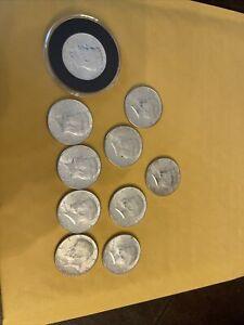 1964 Kennedy Half Dollar  Uncirculated 90 % Silver. 10 Coin Lot. Great Shape
