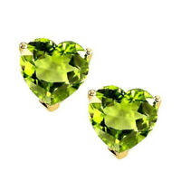 August Birthstone 1.00Ct Heart Peridot Yellow Gold Over Solitaire Stud Earrings