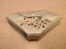 Vintage Mint Green Vinyl Sewing Case Kit With Floral and Rhinestone Accents