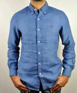 Polo Ralph Lauren Linen Indigo Custom Fit Full Sleeve Shirt