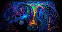 Ultraviolet Neon blacklight glow Psychedelic Trippy Wall hanging UV tapestry