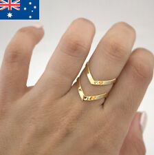 Bohemian Double V-Shaped Womens Gold Plated Resizable Ring Unique Cool Gift