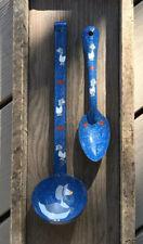 New listing Vintage Blue White Speckled Enamelware Spoon Ladle Graniteware 80's Duck Heart