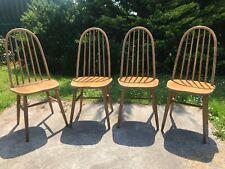 Vintage Retro Set Four 4 Ercol Windsor Quaker Mid Century Kitchen Dining Chairs