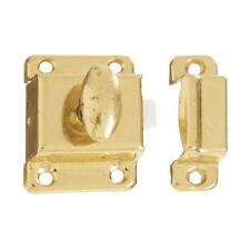 """35 Pk Steel Brass Finish 1 3/4"""" L X 1 1/4"""" W Cupboard Cabinet Turn Latch N149625"""