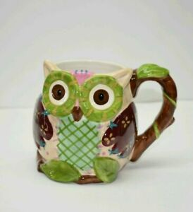 Mint Pier 1 Imports Olli the Owl Large 3D Coffee Mug Hand Painted Dolomite