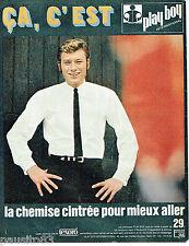 PUBLICITE ADVERTISING 115  1966  PLAY BOY   chemise cintrée pour JOHNNY HALLYDAY