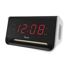 "75910 Equity by La Crosse AC Powered 0.9"" Red LED Digital USB Dual Alarm Clock"