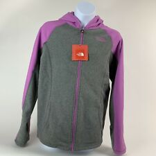 GIRLS: The North Face Fleece Full-Zip Hoodie Jacket, Purple - Size Large (14/16)