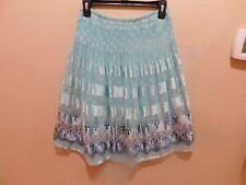 Sophie Max Studio Mint/Navy Pleat Shadow Stripe Print Smocked Waist Skirt sz XS