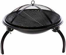 La Hacienda 58106 Camping Firebowl with Grill, Folding Legs and Carry Bag -Black