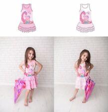Vestidos de niña de 2 a 16 años de manga corta color principal rosa 100% algodón