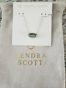 Kendra Scott Ever Silver Dichroic Glass Necklace   NWT $75  KS Pouch