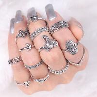 13pcs Vintage Women Mid Ring Set Flower Moon Rhinestone Joint Knuckle Nail Mid S