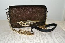 NWT $328 Diane Von Furstenberg Flirty Mini Glitter Leather Crossbody Handbag