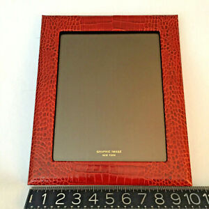 RED Croc Leather Graphic Image New York LARGE RARE PICTURE FRAME fabulous MINT