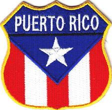 PUERTO RICO FLAG SHIELD Iron On Patch Biker Vest Patriotic
