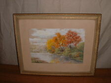 "VINTAGE WATERCOLOR PAINTING SIGNED H T BRONSON TITLED ""AT THE EDGE OF A POND"""