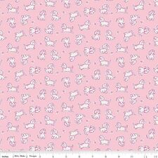 BTY Penny Rose Quilting Fabric, Strawberry Biscuit, Poodle Dog Pink 2016.
