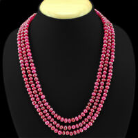 GENUINE 411.50 CTS EARTH MINED 3 STRAND RED RUBY ROUND SHAPE BEADS NECKLACE (RS)