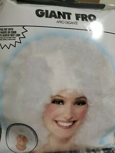 Adult Unisex Giant White Fro Wig New