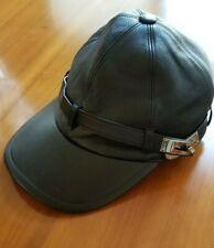 Hermes Black Leather Kelly Lock Baseball Hat Cap Size M