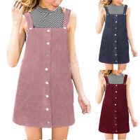 Women Corduroy Straight Suspender Mini Bib Overall Pinafore Casual Button Dress
