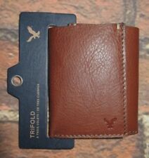 MENS AMERICAN EAGLE GENUINE LEATHER BROWN TRIFOLD WALLET