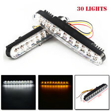 2PCS 12V 30LED Daytime Running Light DRL Fog White lights + Amber Turn Signal