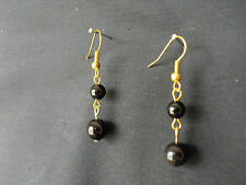 E331 BLACK ONYX BEADS x 2 ON GOLD PLATED EARWIRES EARRINGS NEW