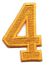 """NUMBERS -Golden Yellow  Number """"4"""" (1 7/8"""") - Iron On Embroidered Applique"""
