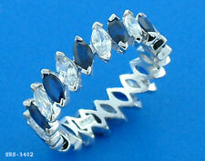 Size9 #3402S 925 Sterling Silver & Marquise cut Sapphire w/ WG finished Ring
