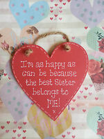 HANDMADE SHABBY CHIC WOODEN LOVE BEST SISTER RED HEART SIGN PLAQUE GIFT