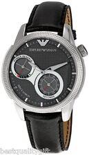 NEW EMPORIO ARMANI BLACK LEATHER AUTOMATIC,MECCANICO MEN'S WATCH-AR4643