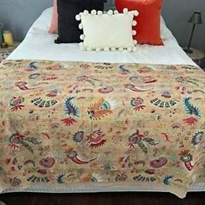 Indian Handmade Quilt Vintage Kantha Bedspread Throw Cotton Blanket Ralli=Gudari