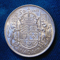 CANADA 1944 narrow date med 4 silver half dollar fifty 50 cents cent piece
