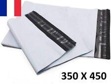 10X Enveloppe Plastique 350x450+40mm Adhésif Blanche Opaque Indéchirable 60u