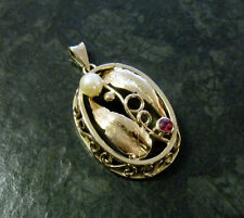 Goldanhänger mit Perle und Rubin 585er Gold Gemüseanhänger 4,5 cm 14 Karat GG