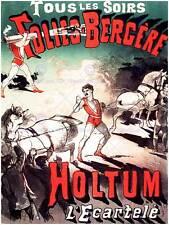 CIRCUS HOLTUM JOHN STRONG MAN CANNON PARIS FRANCE VINTAGE POSTER 774PY