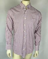 Peter Millar Mens Shirt Nanoluxe Easycare Button Down Red White Check Size M
