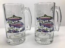 """Lot Of 2 Schmidt Beer Collectors Series III Trout Fish Beer Mug Stein 5.5"""" Glass"""