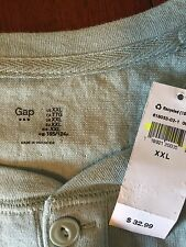 NWT Gap 2XL men's long sleeve shirt pullover crew neck 3-button cotton